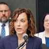 BEN GARVER — THE BERKSHIRE EAGLE<br /> District Attorney Andrea Harrington announced a new Juvenile Justice Initiative at the Boys and Girls Club in Pittsfield, Tuesday September 10, 2019.