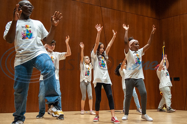 Campers showcase their dance moves on stage for their loved ones during Spring Break Art Camp hosted by KATD (Kids Aspiring To Dream), a talent & performing arts organization, Tuesday, March 10, 2020, in the University Center auditorium at UT Tyler in Tyler.