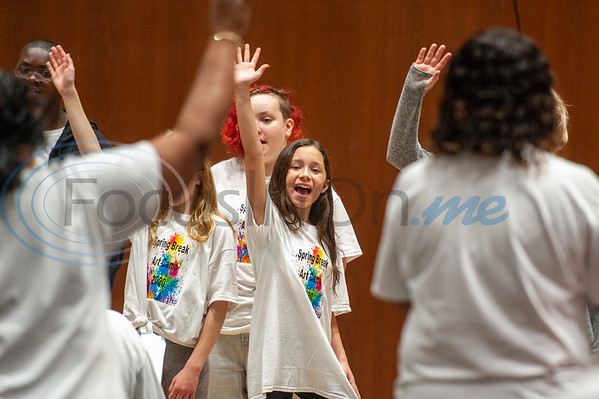 Campers sing a song in a performance for their parents showcasing what they learned during Spring Break Art Camp hosted by KATD (Kids Aspiring To Dream), a talent & performing arts organization, Tuesday, March 10, 2020, in the University Center auditorium at UT Tyler in Tyler.