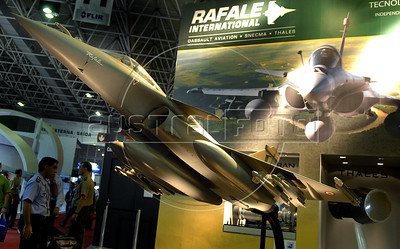 A Rafale fighter jet model is seen during the Latin America Aero and Defence (LAAD) trade show for the defence and security industry in Latin America, Rio de Janeiro, Brazil, April 14, 2011. (Austral Foto/Renzo Gostoli)