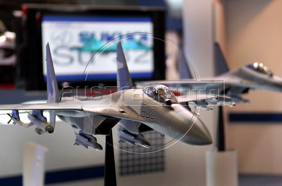 A Sukhov fighter jet model is seen during the Latin America Aero and Defence (LAAD) trade show for the defence and security industry in Latin America, Rio de Janeiro, Brazil, April 14, 2011. (Austral Foto/Renzo Gostoli)