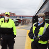 """LRTA bus driver Ellen Patnaude, right, with safety supervisor David """"Tiny"""" Westcott, at the Gallagher Transportation Center in Lowell. (SUN/Julia Malakie)"""