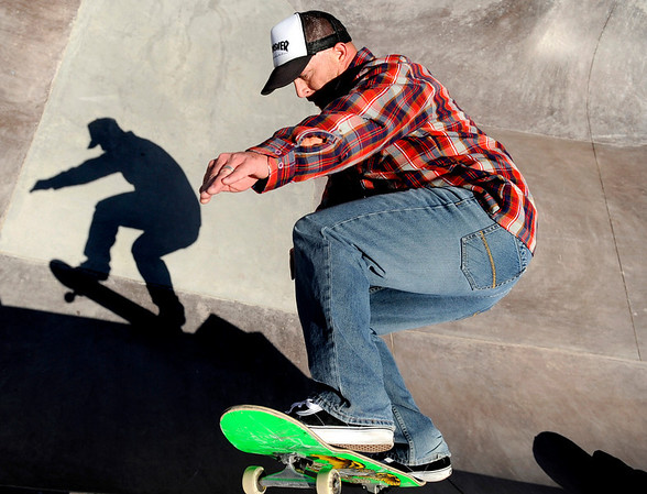 """Mike Stewart, 36, of Aurora, shreds an obstacle on Friday, April 15, at the Lafayette Skatepark which is located adjacent to the Bob L. Burger Recreation Center at 111 W. Baseline Road in Lafayette. For more photos and video of the skatepark go to  <a href=""""http://www.dailycamera.com"""">http://www.dailycamera.com</a><br /> Jeremy Papasso/ Camera"""