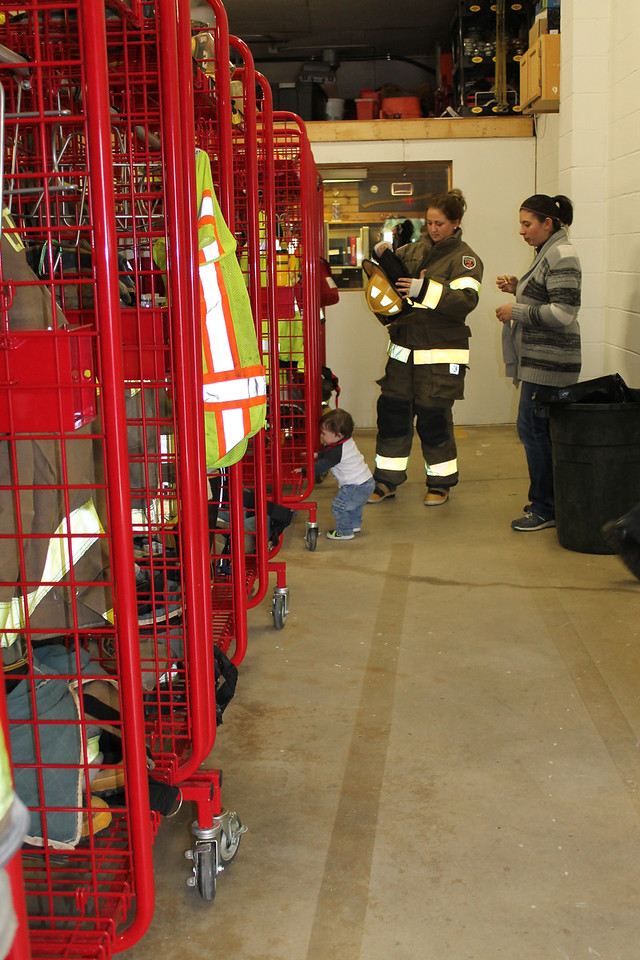 LAWRENCE PANTAGES / GAZETTE Lockers and equipment were on display Sunday during a three-hour open house held by the Lafayette Township Fire Department at 6776 Wedgewood Road.