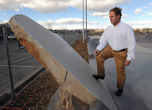 """Curt Cheesman, Director of Lafayette Recreation and Facility Management, talks about this rock feature that can be skated on in the new  skate park behind the Bob Burger Recreation Center.<br /> For  more photos and a video of the skate park, go to  <a href=""""http://www.dailycamera.com"""">http://www.dailycamera.com</a>.<br /> Cliff Grassmick / December 9, 2010"""