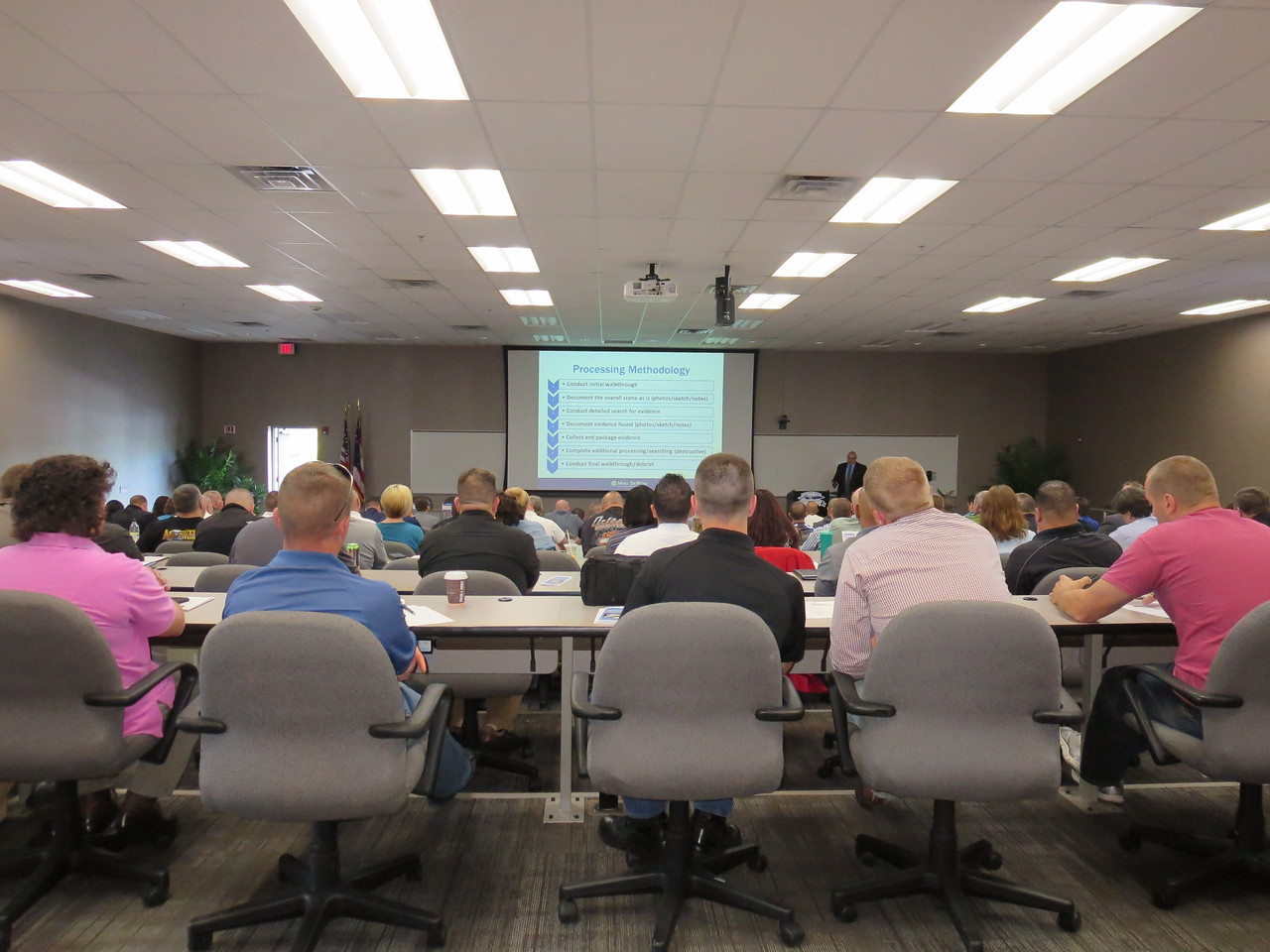"HALEE HEIRONIMUS / GAZETTE Nearly 150 law enforcement officials from state, local, and federal law enforcement agencies attended the Opiate Overdose Death Investigations Seminar Thursday at the Ohio Peace Officer Training Academy, 4055 Highlander Pkwy., Richfield. The seminar began with a presidentation from Special Agen Dan Boerner from the BCI- Crime Scene Unit on ""Preserving the Evidence."""