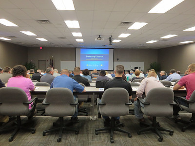 HALEE HEIRONIMUS / GAZETTE Nearly 150 law enforcement officials from state, local, and federal law enforcement agencies attended the Opiate Overdose Death Investigations Seminar Thursday at the Ohio Peace Officer Training Academy, 4055 Highlander Pkwy., Richfield.