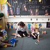 BEN GARVER — THE BERKSHIRE EAGLE<br /> Bev McDermott works with students at Berkshire county Head Start. Berkshire County Head Start is one of the agencies participating in a landmark study by the Harvard Graduate School of Education on learning environments serving 3 and 4 year olds in Massachusetts.