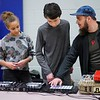 BEN GARVER — THE BERKSHIRE EAGLE<br /> Yako Prodis, teaches students at Mount Everett Regional High School how to operate his console in Sheffield during Mahaiwe sponsored hip-hop collaborative.