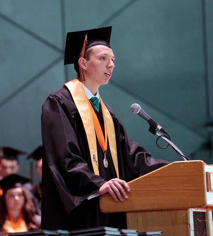. Salutatorian Everett \'Jack\' Harding delivers hgis speech at the Lee High School gradation ceremony at Tanglewood in Lenox. Saturday, June 7, 2014. Stephanie Zollshan / Berkshire Eagle Staff / photos.berkshireeagle.com