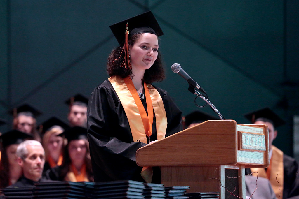 . Valedictorian Maureen K. Feldman delivers her speech at the Lee High School gradation ceremony at Tanglewood in Lenox. Saturday, June 7, 2014. Stephanie Zollshan / Berkshire Eagle Staff / photos.berkshireeagle.com