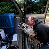 Laury Wolfe boosts his dog into its crate while packing to evacuate from his house in Lake of the Pines during the Lefthand Canyon Fire.<br /> Photo by Marty Caivano/March 11, 2011