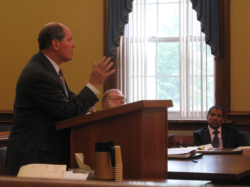 ELIZABETH DOBBINS / GAZETTE Defense Attorney Kerry O'Brien presented his concluding arguments for his client Adam Syed, who is accused of operating two casinos in Medina County. Adam's father and co-defendant, Azeem Syed listens to the proceedings.