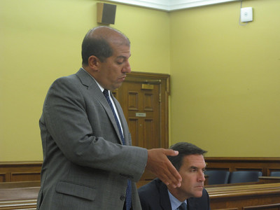 ELIZABETH DOBBINS / GAZETTE Medina County assistant prosecutor Matt Razavi describes Medina County businesses of Adam Syed during concluding statements Thursday. Razavi and assistant prosecutor Scott Salisbury (right) tried the case together.