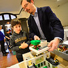 KRISTOPHER RADDER — BRATTLEBORO REFORMER<br /> George and Malika Anthes, 10, show how to remove the levels off the house during the turn in for the 12th annual Lego Contest & Exhibit at Brattleboro Museum & Arts Center on Tuesday, Nov. 5, 2019. An opening reception and awards ceremony will take place on Thursday, Nov. 7, at 6 p.m.