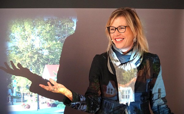 BEN GARVER — THE BERKSHIRE EAGLE<br /> Anita Walker, Executive Director of the Massachusetts Cultural Council, talks at the Massachusetts Cultural Council's official announcement that Lenox has been designed as the state's 48th Cultural District, At Sohn fine Art Gallery, Monday September 9, 2019.
