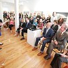 BEN GARVER — THE BERKSHIRE EAGLE<br /> Cassandra Sohn speaks to a large crowd at the Massachusetts Cultural Council's official announcement that Lenox has been designed as the state's 48th Cultural District, At Sohn fine Art Gallery, Monday September 9, 2019.