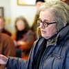 BEN GARVER — THE BERKSHIRE EAGLE<br /> Mary Jane Mattina speaks at a Lenox Select Board special meeting regarding the safety of the intersection of Hubbard Street and Routes 7/20.  The intersection has a dangerous history and recently, Wendy Rabinowitz was in a fatal accident there.
