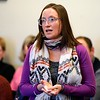 BEN GARVER — THE BERKSHIRE EAGLE<br /> Joanna Munson Perales speaks at a Lenox Select Board special meeting regarding the safety of the intersection of Hubbard Street and Routes 7/20. Perales is the daughter of Wendy Rabinowitz, who was in a fatal traffic accident at the intersection.
