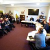 BEN GARVER — THE BERKSHIRE EAGLE<br /> The Lenox Select Board listens to testimony regarding the danger of the Hubbard Street Intersection with Routes 7/20.  A special meeting was called to close the intersection after a fatal accident. Wednesday, December 19, 2018.