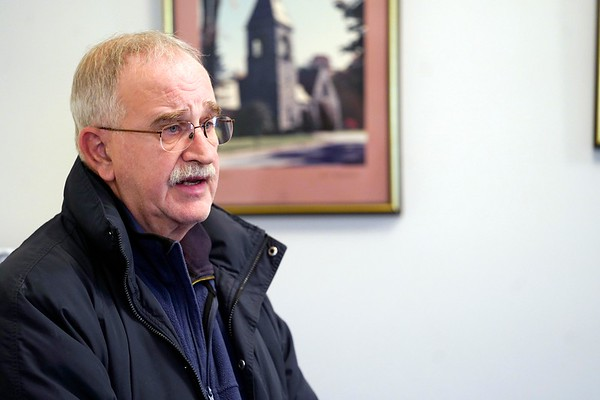 BEN GARVER — THE BERKSHIRE EAGLE<br /> Tom Romeo speaks at a Lenox Select Board special meeting regarding the safety of the intersection of Hubbard Street and Routes 7/20. Romeo lives at the intersection and has called emergency personnel to accidents there for as long as he has lived there.
