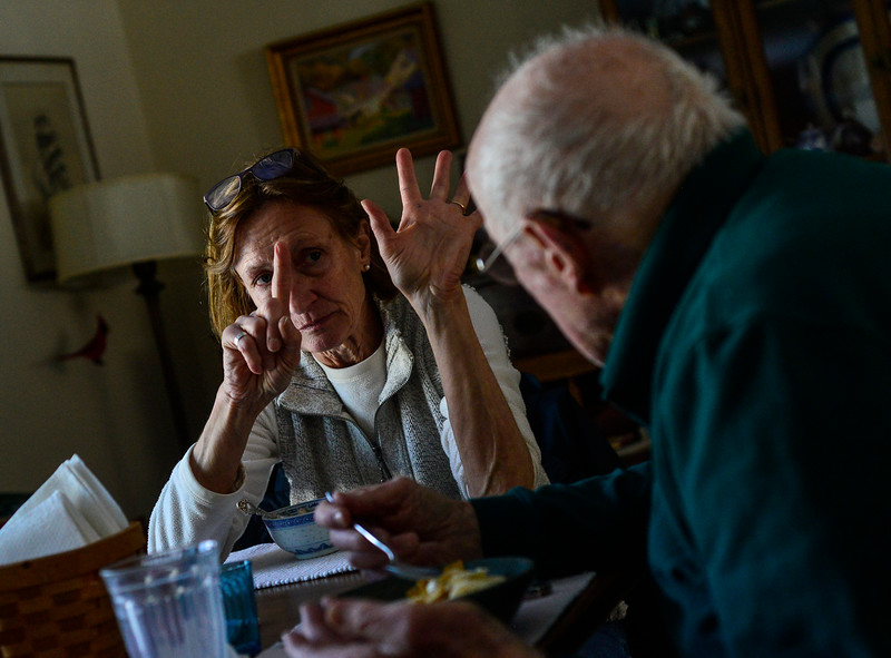 KRISTOPHER RADDER — BRATTLEBORO REFORMER<br /> Katie Tobey holds up six fingers as she tell her father for the third time in 10 minutes that its six degrees outside on Jan. 31, 2019.
