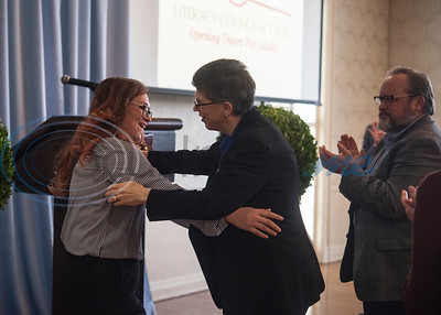 Student speaker Indira Karimova is embraced by LCOT executive director Nancy Crawford after she speaks during the Literacy Council of Tyler Donor Appreciation Luncheon held on Jan. 29, 2020 at Willow Brook County Club.   (Sarah A. Miller/Tyler Morning Telegraph)