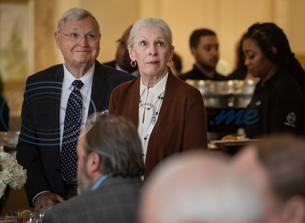 Donors of the Literacy Council of Tyler stand up to be recognizer during the LCOT Donor Appreciation Luncheon held on Jan. 29, 2020 at Willow Brook County Club. Pictured are Mike and Fritter McNally.  (Sarah A. Miller/Tyler Morning Telegraph)