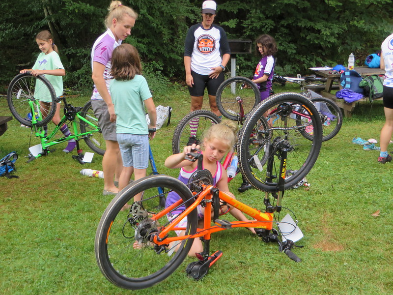Learning how to independently care and maintain your mountain bike is a key lesson learned through the Little Bellas mentoring on mountain bikes program. It was piloted this week in Pittsfield State Forest.