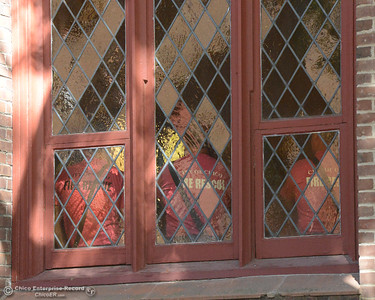"Chico Fire Department firefighters wear pink shirts behind pink stained-glass as Lloyd Pendleton, a prominent ""housing first"" advocate for homeless people, speaks to members of the Chico community Monday, Oct. 10, 2016,  at Bidwell Presbyterian Church in Chico, California. (Dan Reidel -- Enterprise-Record)"