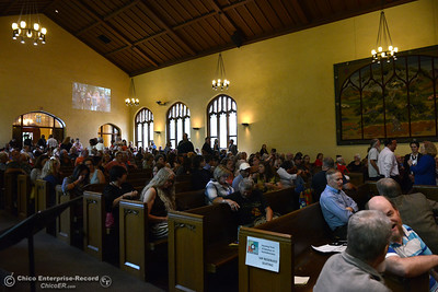 "People fill the pews to hear Lloyd Pendleton, a prominent ""housing first"" advocate for homeless people, speak Monday, Oct. 10, 2016,  at Bidwell Presbyterian Church in Chico, California. (Dan Reidel -- Enterprise-Record)"