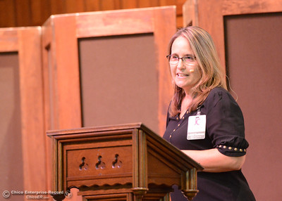 "Laura Cootsona introduces Lloyd Pendleton (not pictured), a prominent ""housing first"" advocate for homeless people, as he speaks to members of the Chico community Monday, Oct. 10, 2016,  at Bidwell Presbyterian Church in Chico, California. (Dan Reidel -- Enterprise-Record)"