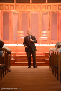 "Lloyd Pendleton, a prominent ""housing first"" advocate for homeless people, speaks to members of the Chico community Monday, Oct. 10, 2016,  at Bidwell Presbyterian Church in Chico, California. (Dan Reidel -- Enterprise-Record)"