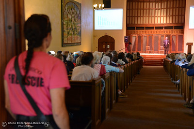 "Community memebrs including firefighters, police officers, city councilors, county representatives, charity organizers and more showed up to hear Lloyd Pendleton, a prominent ""housing first"" advocate for homeless people, speak Monday, Oct. 10, 2016,  at Bidwell Presbyterian Church in Chico, California. (Dan Reidel -- Enterprise-Record)"