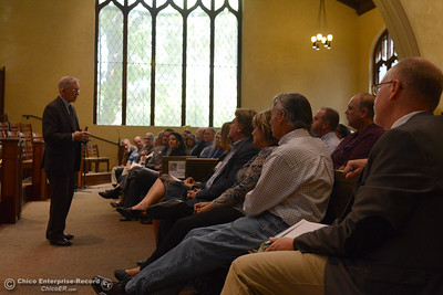 "Lloyd Pendleton, left, a prominent ""housing first"" advocate for homeless people, speaks to members of the Chico community Monday, Oct. 10, 2016,  at Bidwell Presbyterian Church in Chico, California. (Dan Reidel -- Enterprise-Record)"