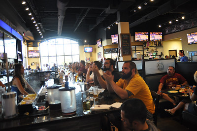 ASHLEY FOX / GAZETTE Patrons at On Tap in Medina breathed a sigh of relief and appreciation during the second quarter of Game 7 of the NBA Finals when the Cavs took the lead.