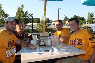 LAWRENCE PANTAGES / GAZETTE  From left, Dan Mirman, Alyssa Froelich, Zach Holowecky and Chad Holbert, all of Medina, watched Game 7 of the NBA Finals at On Tap Bar & Grille in Medina on Sunday night.