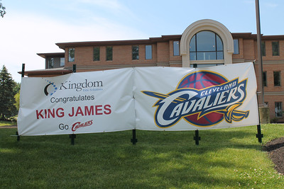 LAWRENCE PANTAGES / GAZETTE An office building on West Market Street in Fairlawn expressed well wishes for LeBron James and the Cleveland Cavaliers heading into Sunday night's decisive Game 7 of the NBA Finals vs. the defending champion Golden State Warriors.