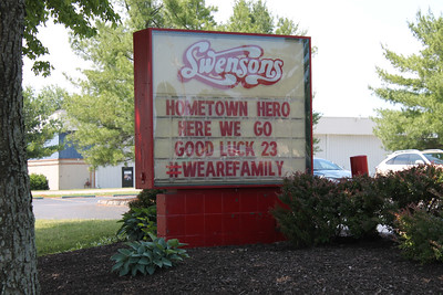 LAWRENCE PANTAGES / GAZETTE The Montrose location of Swenson's drive-in, nearest to LeBron James' home in Bath, had a message of high hopes Sunday afternoon going into Game 7 of the NBA Finals between James and the Cleveland Cavaliers vs. the defending champion Golden State Warriors.