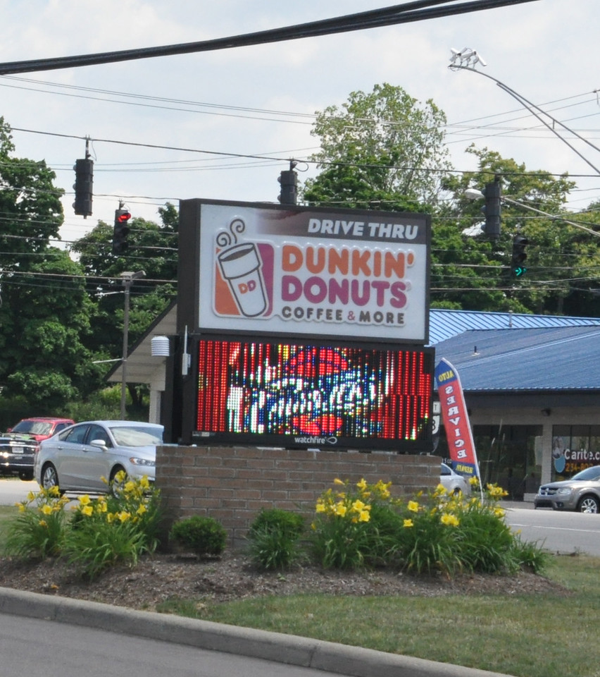 ASHLEY FOX / GAZETTE  Dunkin Donuts at 2739 Medina Road, Medina, showed their support for the Cleveland Cavaliers on Sunday with a sign that had the team logo, ahead of Game 7 in the NBA Finals. The Cavaliers took on the Golden State Warriors.