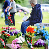Globe/T. Rob Brown<br /> Edward Gembala of Carthage sits on a bench and waits for the start of Memorial Day services, Monday, May 27, 2013, at Park Cemetery in Carthage. Gembala served with the Air Force (then Air Corps) in the Pacific theater during World War II.