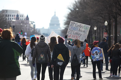 SHIRLEY WARE / GAZETTE Participants in Saturday's March for Our Lives in Washington, D.C., walk down Pennsylvania Avenue.