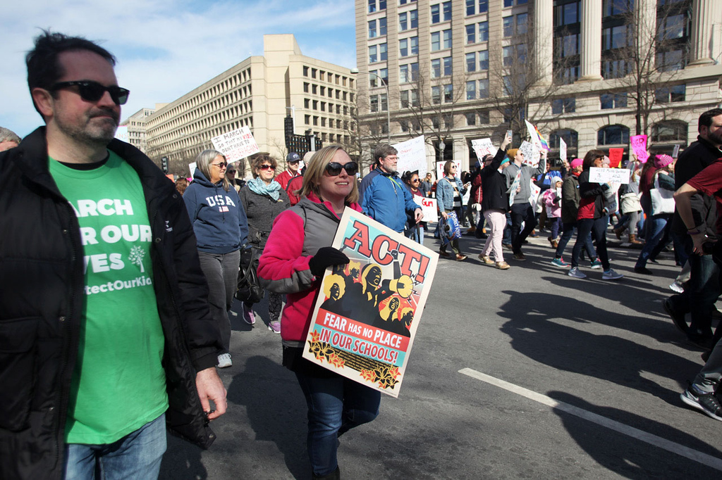 SHIRLEY WARE / GAZETTE Tim and Mary Hoolihan, of Copley, walk along Pennsylvania Avenue in Washington, D.C. They were participating in Saturday's March for Our Lives with teachers and counselors from Wadsworth Schools and other area districts.