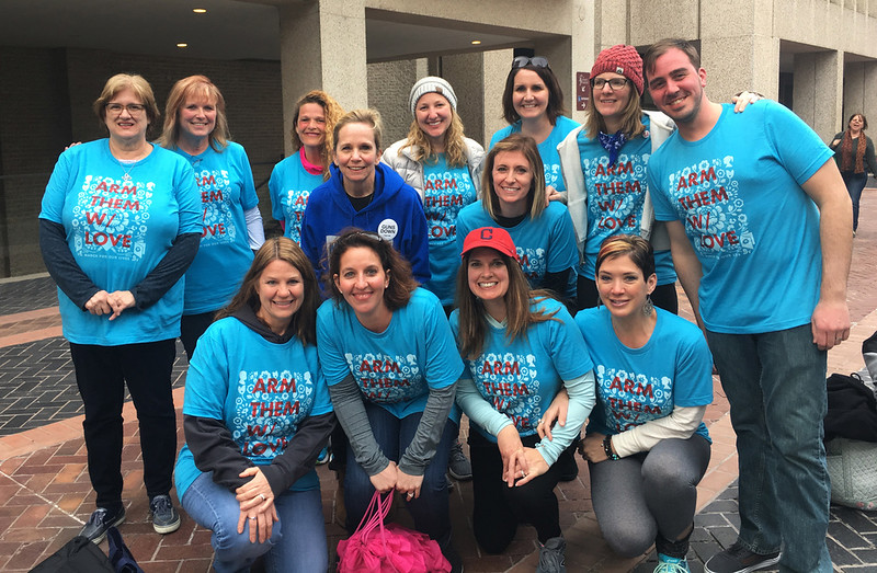 SHIRLEY WARE / GAZETTE Wadsworth Schools educators and counselors who participated in Saturday's March for Our Lives on Saturday in Washington, D.C., gather for a group photo before their bus trip home.