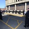 Lowell Police hold roll call outdoors due to coronavirus/covid-19 crisis.  (SUN/Julia Malakie)