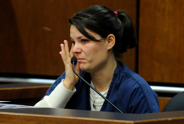 Molly Bowers, formerly Molly Midyette, cries as she testifies about the events surrounding her son Jason's death during her hearing at the Boulder County Justice Center on November 1, 2011. Photo by Paul Aiken
