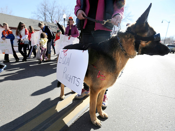 """Charlie"" the dog stands guard while people march during the Martin Luther King Jr. March for Peace on Monday, Jan. 21, in Lafayette. For more photos and video of the event go to  <a href=""http://www.dailycamera.com"">http://www.dailycamera.com</a><br /> Jeremy Papasso/ Camera"