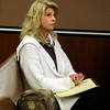 Alex Midyette's wife Christine Stonig takes notes during Molly Bowers hearing on Wednesday November 16, 2011 at the Boulder County Justice Center. Molly Bowers, formerly Molly Midyette, is asking for a new trial in the death of her son.<br /> Photo by Paul Aiken / The Camera