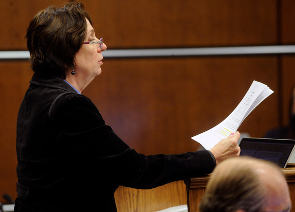 Alison Ruttenberg, one of Molly Bowers' attorneys, argues with the prosecution team about some previous testimony by Terry Baxter during a hearing a on Wednesday November 16, 2011 at the Boulder County Justice Center. Bowers, formerly Molly Midyette, is asking for a new trial in the death of her son.<br /> Photo by Paul Aiken / The Camera