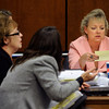 Eva Wilson, Senior Chief Deputy District Attorney looks over a note given to the prosecutors team by Alex Midyette's wife Christine Stonig during Molly Bowers' hearing on Wednesday November 16, 2011 at the Boulder County Justice Center. Bowers, formerly Molly Midyette, is asking for a new trial in the death of her son.<br /> Photo by Paul Aiken / The Camera